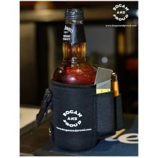 Stubby holder with smokes pocket and lighter pocket